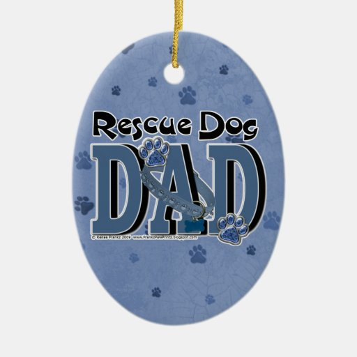 Rescue Dog DAD Christmas Tree Ornament