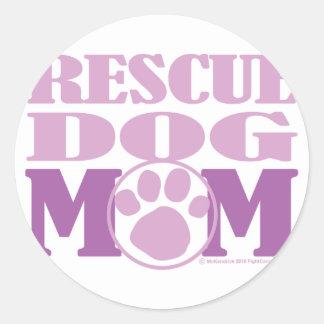 Rescue Dog Mom Round Sticker