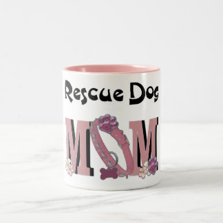 Rescue Dog MOM Two-Tone Coffee Mug