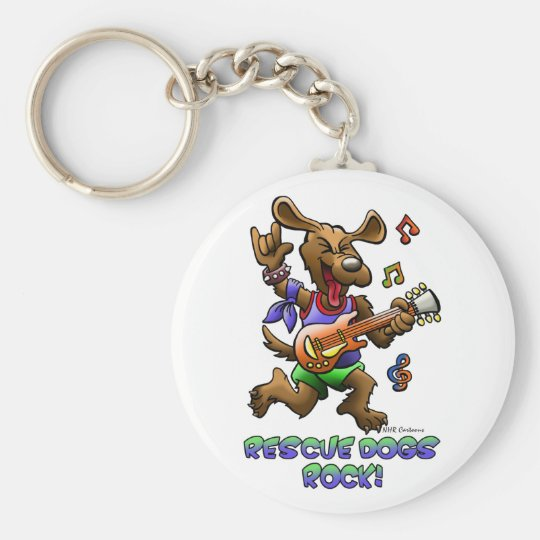 RESCUE DOGS ROCK! BASIC ROUND BUTTON KEY RING