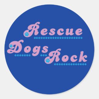 Rescue Dogs Rock Round Sticker