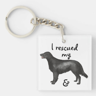 Rescue Flat-Coated Retriever Double-Sided Square Acrylic Key Ring