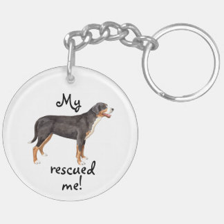 Rescue Greater Swiss Mountain Dog Double-Sided Round Acrylic Key Ring