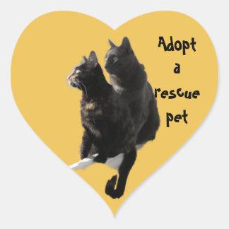 Rescue Pet Cat Heart Sticker