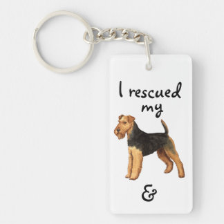 Rescue Welsh Terrier Double-Sided Rectangular Acrylic Key Ring