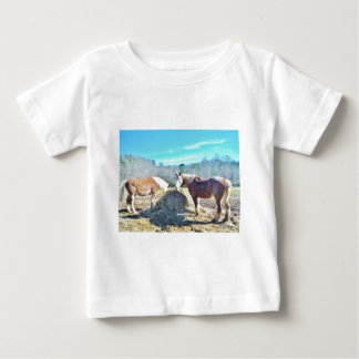 Rescued Draft Horses eating hay Tee Shirts