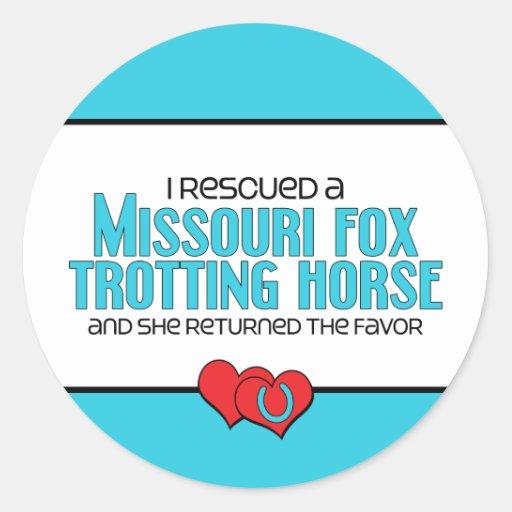 Rescued Missouri Fox Trotting Horse (Female Horse) Round Stickers