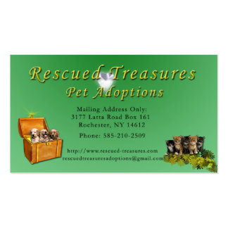 Rescued Treasures Pet Adoptions Business Card