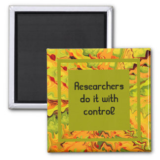 research joke square magnet