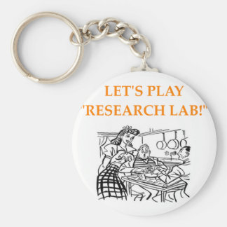 research lab basic round button key ring
