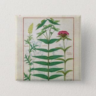 Reseda, Euphorbia and Dianthus 15 Cm Square Badge