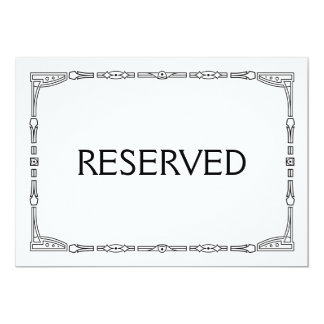 """""""Reserved"""" Art Deco Style Wedding Sign Card"""