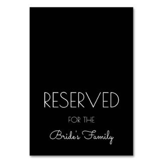 Reserved Black and White Wedding Table Signs Table Cards