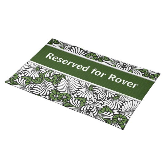 Reserved Dinner Spot with Pet's Name Green Place Mats
