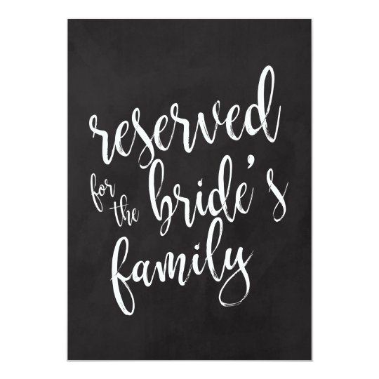 Reserved for Bride's Family Cheap Chalkboard Sign Card
