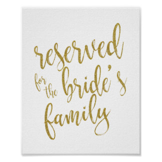 Reserved for Bride's Family Glitter 8x10 Sign
