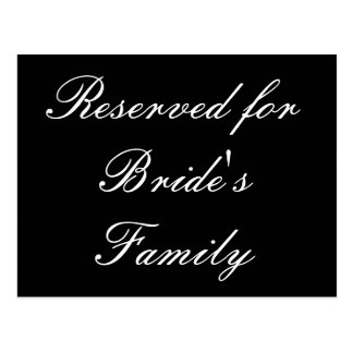 Reserved for Bride's Family Postcard