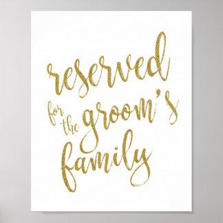 Reserved for Groom's Family Glitter 8x10 Sign