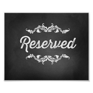 Reserved Script Sign Wedding or Party 8x10 Posters