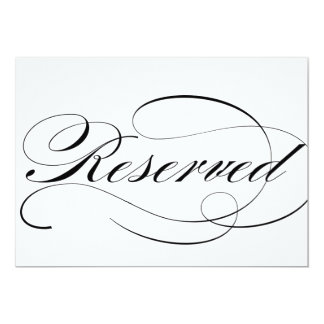 Reserved seating sign for wedding reception card
