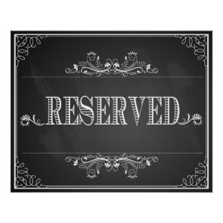 """Reserved"" sign wedding or Party chalkboard print"