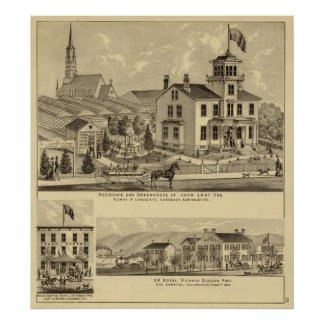 Residence and Greenhouse of John Lent Sewickley Print