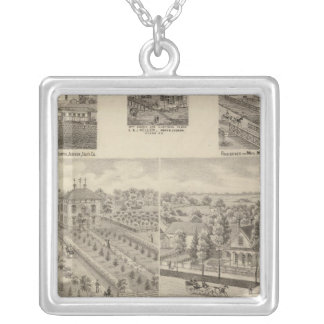 Residence and mill of L & J Keller Silver Plated Necklace