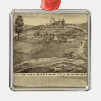 Residence and stock farm Silver-Colored square decoration
