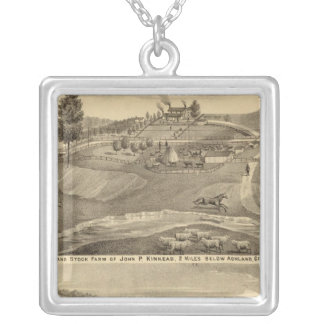 Residence and stock farm square pendant necklace