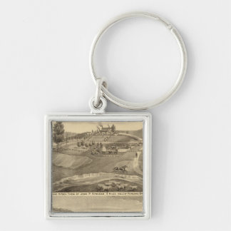 Residence and stock farm Silver-Colored square key ring