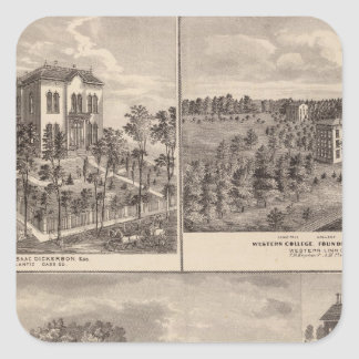 Residence and Western College in Marshalltown Square Sticker