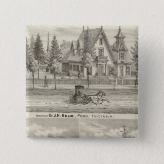 Residence of Dr JH Helm, Peru 15 Cm Square Badge