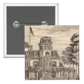 Residence of Genl HH Baxter in Rutland Vermont 15 Cm Square Badge