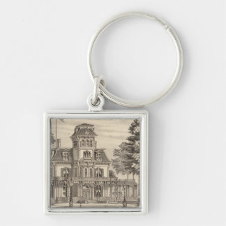 Residence of Genl HH Baxter in Rutland Vermont Silver-Colored Square Key Ring