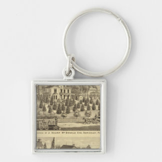 Residence of J Sharp McDonald Sewickley Silver-Colored Square Key Ring