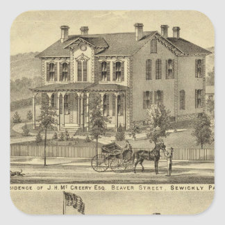Residence of JH McCreery Sewickly Square Sticker