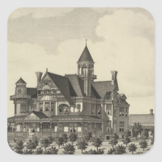 Residence of John D Knox, Topeka, Kansas Square Sticker