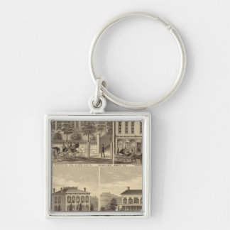 Residence of Thomas Hornbrook Silver-Colored Square Key Ring