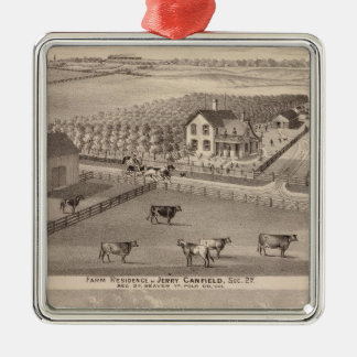 Residences and farms of J Canfield and J Wood Christmas Ornament