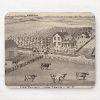 Residences and farms of J Canfield and J Wood Mouse Mat