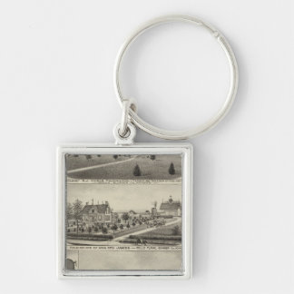 Residences and Farms, Sumner County, Kansas Silver-Colored Square Key Ring