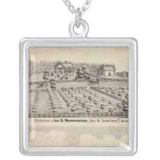 Residences & farm of Warrington Silver Plated Necklace