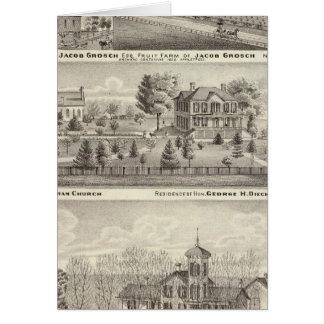 Residences, farms and church card