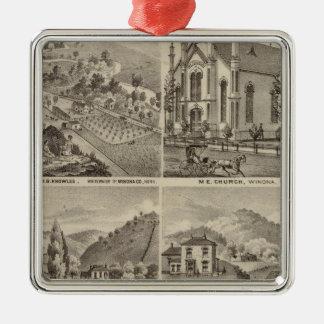 Residences, Farms, Brewery and Stable, Minnesota Christmas Ornament