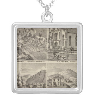 Residences, Farms, Brewery and Stable, Minnesota Silver Plated Necklace