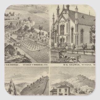 Residences, Farms, Brewery and Stable, Minnesota Square Sticker