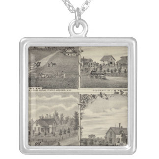 Residences, Farms, Mill in Litchfield, Minnesota Silver Plated Necklace