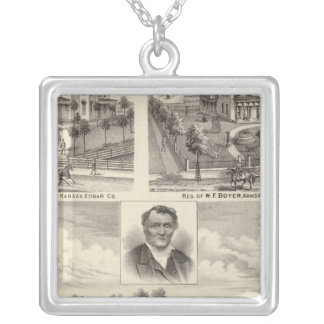 Residences in Edgar County Illinois Silver Plated Necklace
