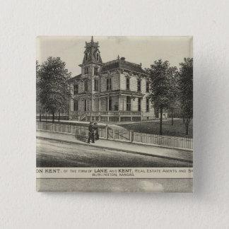 Residences in Kansas 2 15 Cm Square Badge