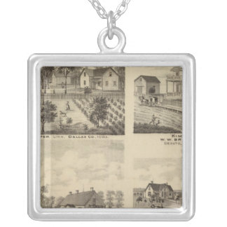 Residences in Linn and Desoto, Dallas Co, Iowa Silver Plated Necklace